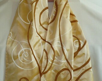 Mixed silk arabesques on golden yellow background scarf