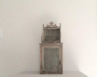 Rare Antique French Religious House Niche 1800s Wood and White Gesso Original Glass WOW!