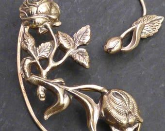 Flower and Leaf  Ear Wrap  -  ROSES for RIGHT Ear -  Brass Ear Cuff Wrap