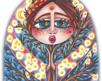 """Laurel Silverleaf Loghorn - a Whimiscal 8 x 10"""" ART PRINT of a tree and woodland Goddess singing a midnight lullaby to all forest lovers"""
