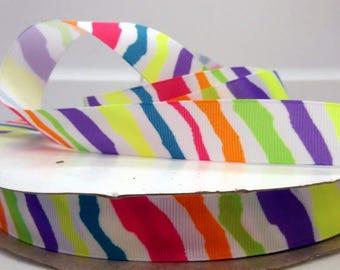 7/8 inch x 10 yards Grosgrain Ribbon...Neon Zebra-On Sale Now...FREE SHIPPING