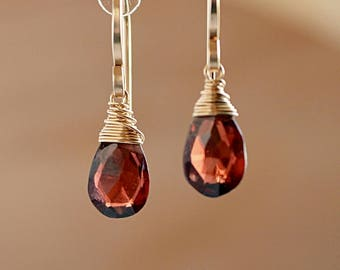 Mozambique Garnet Earrings, January Birthstone, Red Earrings, Drop Gemstone Earrings: 14K Rose Gold Filled Oxidized Sterling Silver