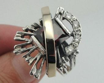 New Design 9K Yellow Gold and 925 Sterling Silver Garnet & CZ ring (sr1868rg)