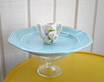 Vintage Tea Pot Cupcake Plate / Cookie Platter / Appetizer Stand, Cottage Chic Mini Teapot Serving / Cake Plate Gift for Hostess / Mom / Her