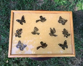 Handmade wooden box with butterflies & birds inlay for storage/jewelry