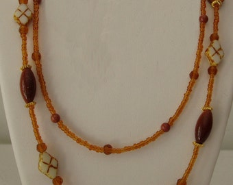 Goldstone and Mother of Pearl Necklace