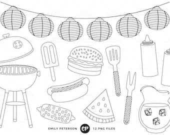 50% OFF SALE! Summer BBQ Digital Stamps, Barbecue Line Art, Cook Out Clip Art - Commercial Use, Instant Download