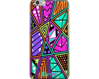RETRO PHONE CASE - 80s Geometric Pattern triangle phone case, gift for her, iPhone 8 case, iPhone X case, iPhone 7 case, iPhone 6 case