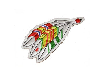 Native American Veteran Feathers with National Defense Ribbon, Vietnam Service Ribbon and Vietnam Campaign Ribbon Patch