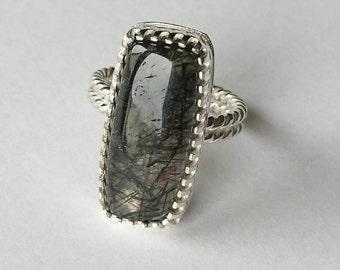 Sterling silver handmade black rutilated quartz ring. Hallmarked in Edinburgh