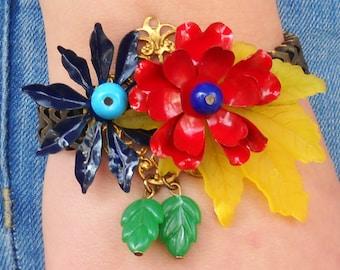 Garden flowers Bracelet, Unique Bracelet for her, Handmade original colorful Metal Bracelet