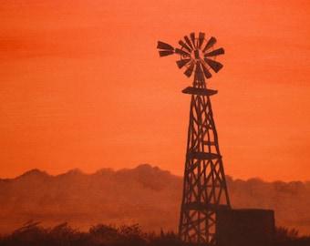 Painting, Original Painting, Art, Southwestern  Art, Acrylic Painting on Canvas of a Beautiful Orange Sunset
