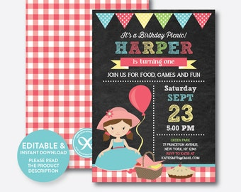 Instant Download, Editable Picnic Birthday Invitation, Picnic Invitation, Picnic Party Invitation, Girl Invitation, Pink, Chalkboard(CKB.40)