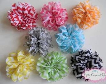Chevron Flower, Flower Clip, Chevron Chiffon Flower Clip, Chevron Flower Headband