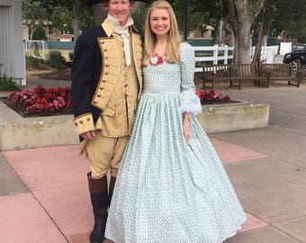 DAR GOWN revolutionary war gown colonial women dress martha washington gown 1776 made to your measurements choice of print &color 04-14