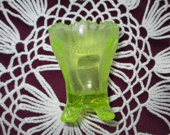 Vintage Boyd Yellow Footed Vaseline Glass Toothpick Holder With Swag Bracket Pattern Collectible Glass Glassware Depression Glass Dining