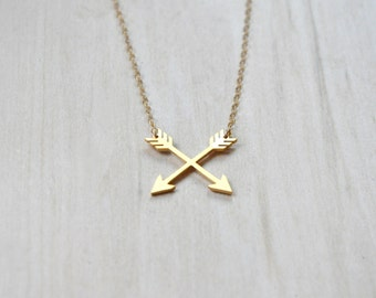 Gold Charm Necklace, Arrow Necklace, Layering Necklace, Everyday necklace, Geometric Necklace