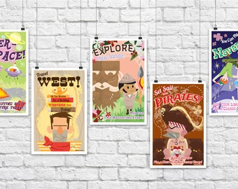 Kids Room Decor- Set of 5 Retro Mid-Century Style Library/Reading Posters