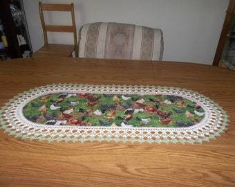 Crocheted Chicken and Rooster Table Runner Crocheted Edge Fabric Center