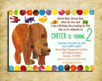 Brown Bear Invitation - Brown Bear, Brown Bear Birthday Party Invite  - Printable And Digital File