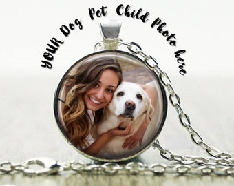 Dog Necklace  - Dog Photo Necklace- Custom Personalized Sterling Silver Plated Pet Necklace - Custom Pet Photo pendant