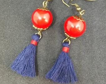 Red and blue tassel earrings