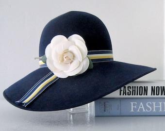 Women's Wool Hat , Blue Wool Hat , Navy Blue Wool Hat, Winter Hat, Vintage Wool Hat, Blue Felt Hat,Hats Women, Vintage Hats