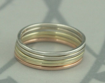Ombre Solid 14K Gold Rainbow Set of 5--Super Skinny Stack Rings--Solid 14K Yellow, White, Rose and Green Gold with Silver--Holiday Fashion