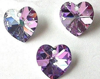 3 Vitrail Light heart Swarovski crystal pendants, 10mm lavender purple