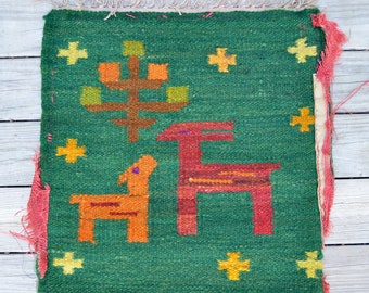 Antique Hand Woven Textile . Wool Tree . Deer . Southwestern . Repurpose Textile . Handmade . Unique Textile