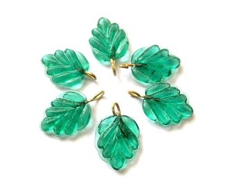 6 Vintage glass dangling beads leaf shape with self loop blue green 15mmx12mm