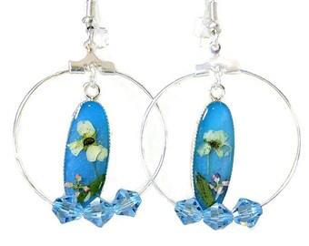 Little Flowers on Teal  and Swarovski Element Dangle Earrings,Resin, Pressed Flower Earrings (1998)