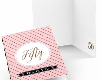 50th Birthday Thank You Cards – Pink, Black, and Gold Thank You Cards - Chic 50th Birthday Party Supplies - Set of 8 Folding Note Cards