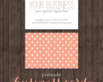 business card design - peach polka dots - we design, you print