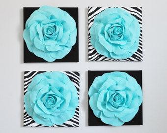 Set of four aqua wall decor, flower wall decor, home decor, Aqua Blue Wall Art, Aqua and Black, Aqua Blue, Animal Print Zebra Print