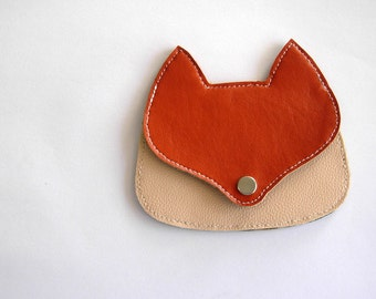 Fox pouch in orange and light pink faux  leather , fox coin purse, wallet