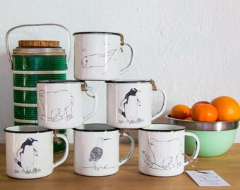 Enamel Mug travel emaille becher camping travel mug polar bear penguin whale enamel coffee enamelware vintage retro animals illustrated mugs