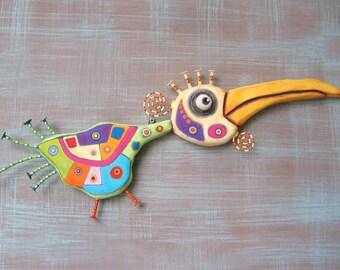 Abstract Roadrunner, Bird Wall Art, Original Found Object Wall Sculpture, Wood Carving, Abstract Art, by Fig Jam Studio
