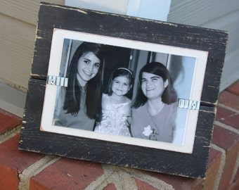 Picture Frame - Distressed Wood - Holds a 4x6 Photo - Black and White