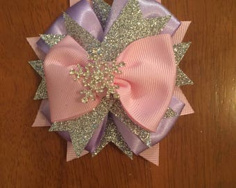 Lavender, Pink, White, and Silver Snowflake Layered Hair Bow