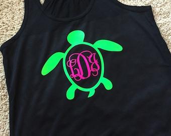 Turtle Monogram Racerback Tank Top