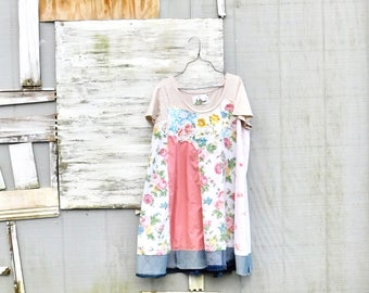 Summer Dress, Womens Tunic, Upcycled Clothing, Tshirt Dress, Spring Dress, Plus Size Dress, Floral, Tunic, Upcycled Dress, CreoleSha
