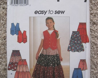 UNCUT  Girls Top or Vest, Skirt and Shorts - Size 12 to 16 - Simplicity 7611