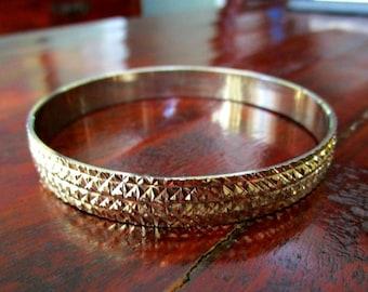 Vintage Bangle Bracelet - Gold Tone - Diamond Cut Raised Design - 1960s   to 1970s