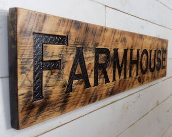 "Farmhouse Sign 48""x10"" Horizontal - Carved in a Cypress Board Rustic Farmhouse Style Stained"