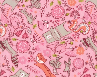 Forest Furries Pink - Just Another Walk in the Woods - Stacy Iest Hsu - Moda 100% Quilters Cotton 20523 12