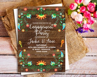Mexican fiesta engagement invitation, Rustic wood colorful fiesta party invitation, Rustic Fiesta Couples Shower Invitation, Woodland fiesta