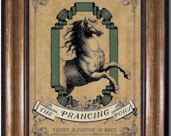 The Prancing Pony - Lord of the Rings - Bree -  Middle Earth  - Vintage Style Print - Sizes 5x7, 8x10, 11x14, 16x20, 18x24, 20x24, 24x36