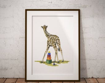 Digital download baby Giraffe with toy Printable nursery animal set Instant download Safari animal poster Baby shower gift Printable nursery
