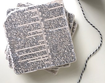 Book Lover Gift, Bibliophile Gift, Book Page Coasters, Dictionary Coasters